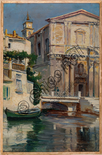 "Augusto Zoboli, (1894-1991): ""Canal in Venice"" ; Oil painting on cardboard, cm. 40 x 30."