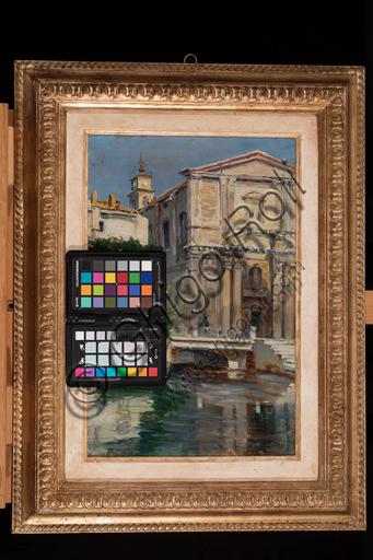 """Augusto Zoboli, (1894-1991): """"Canale a Venezia"""" ; olio su cartone, cm. 40 x 30."""