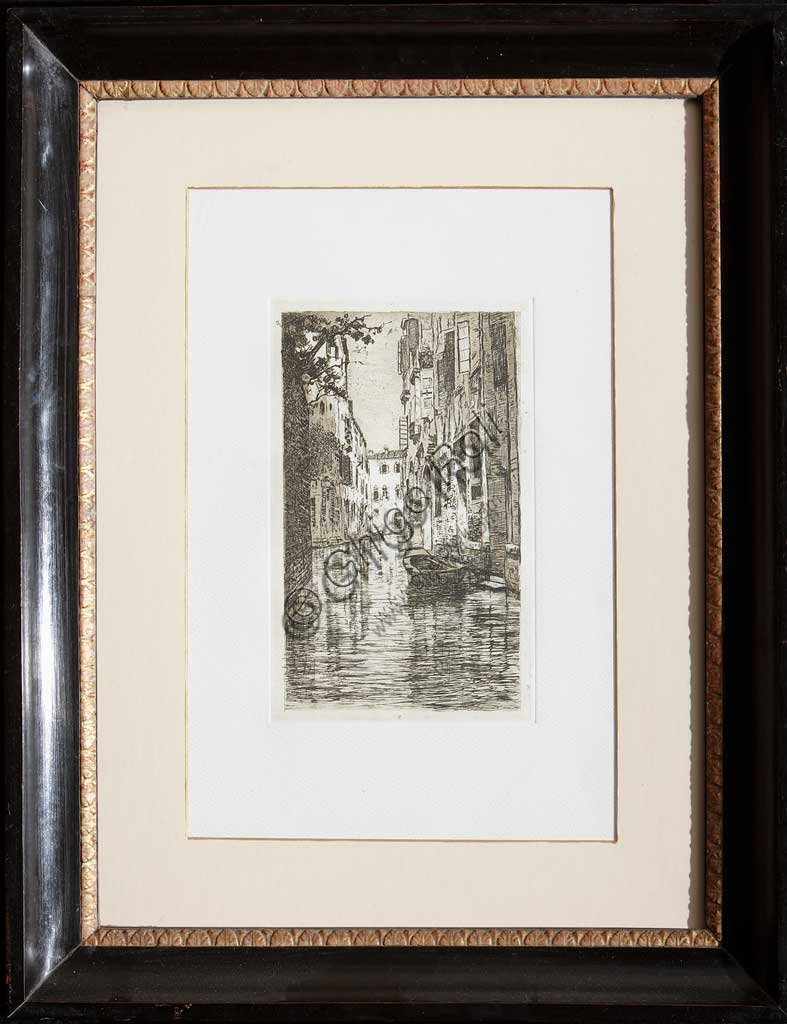 "Assicoop - Unipol Collection: ""A canal in Venice"", etching  on paper, by Giuseppe Miti Zanetti (1859 - 1929)."