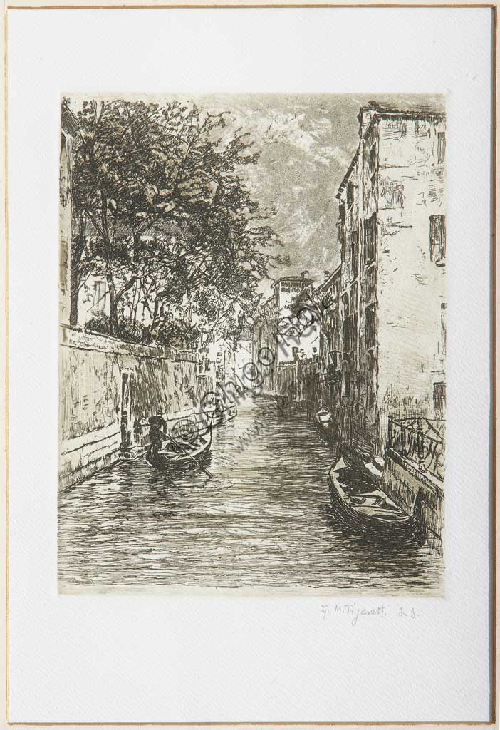 "Assicoop - Unipol Collection: ""A canal in Venice"", etching  on white paper, by Giuseppe Miti Zanetti (1859 - 1929)."