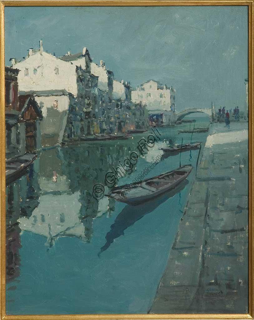 """Collezione Assicoop - Unipol: Giovanni Forghieri, """"Canale a Venezia"""", olio su tela, cm 40 X 50."""