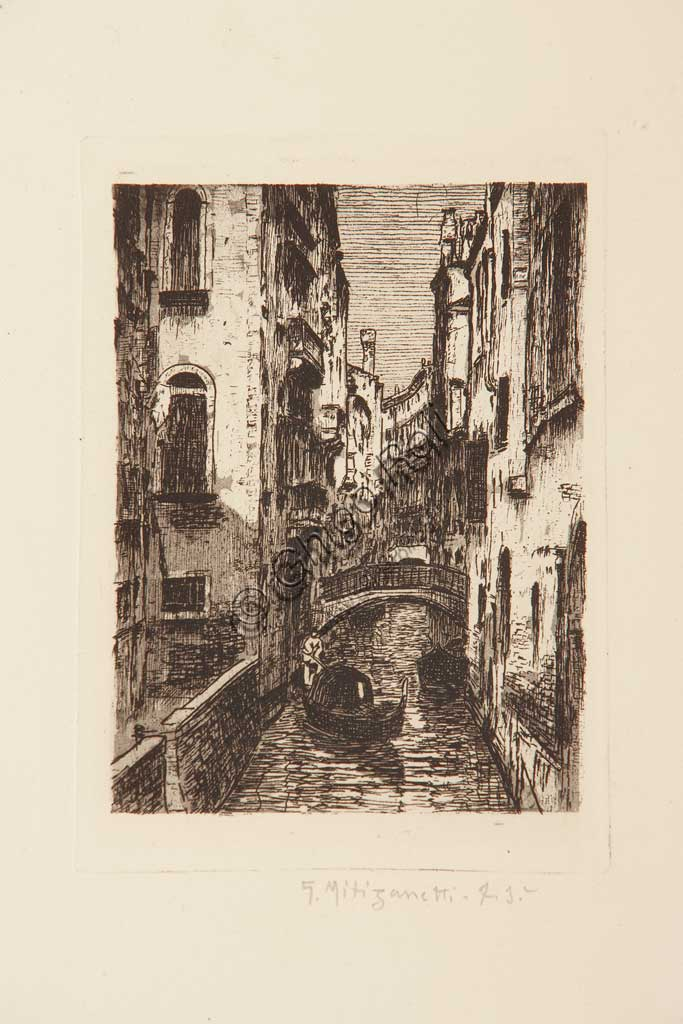 "Assicoop - Unipol Collection: ""Venetian Canal"", etching  on white paper, by Giuseppe Miti Zanetti (1859 - 1929)."