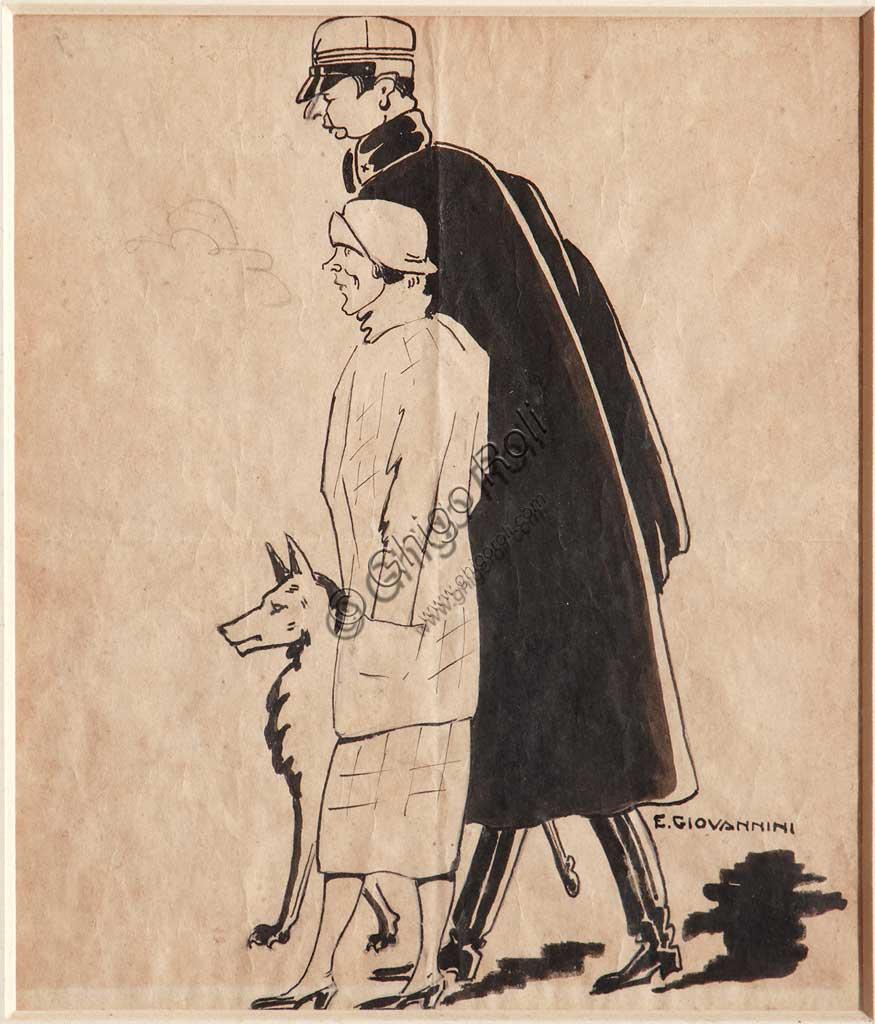 """Collezione Assicoop - Unipol: Ettore Giovannini (1894 - ?), """"Al Capitanoun"""", inchiostro nero su carta."""