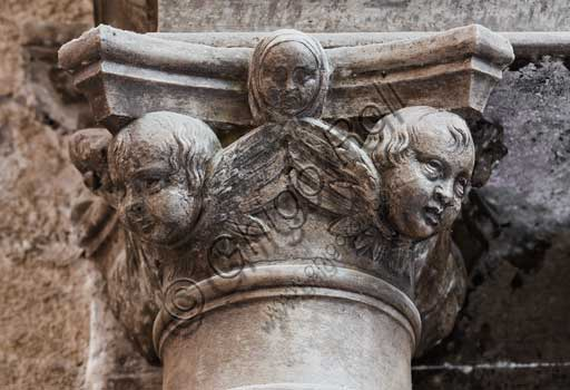 Palermo, The Royal Palace or Palazzo dei Normanni (Palace of the Normans), Joharia Tower, the Winds Room, twin columns of the Renaissance portal: detail of the Gagini capital.