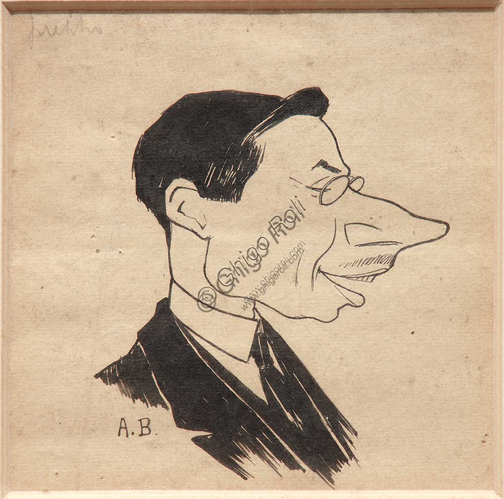 "Assicoop - Unipol Collection: Augusto Baracchi (1878 - 1942), ""Caricature"", black ink on paper."