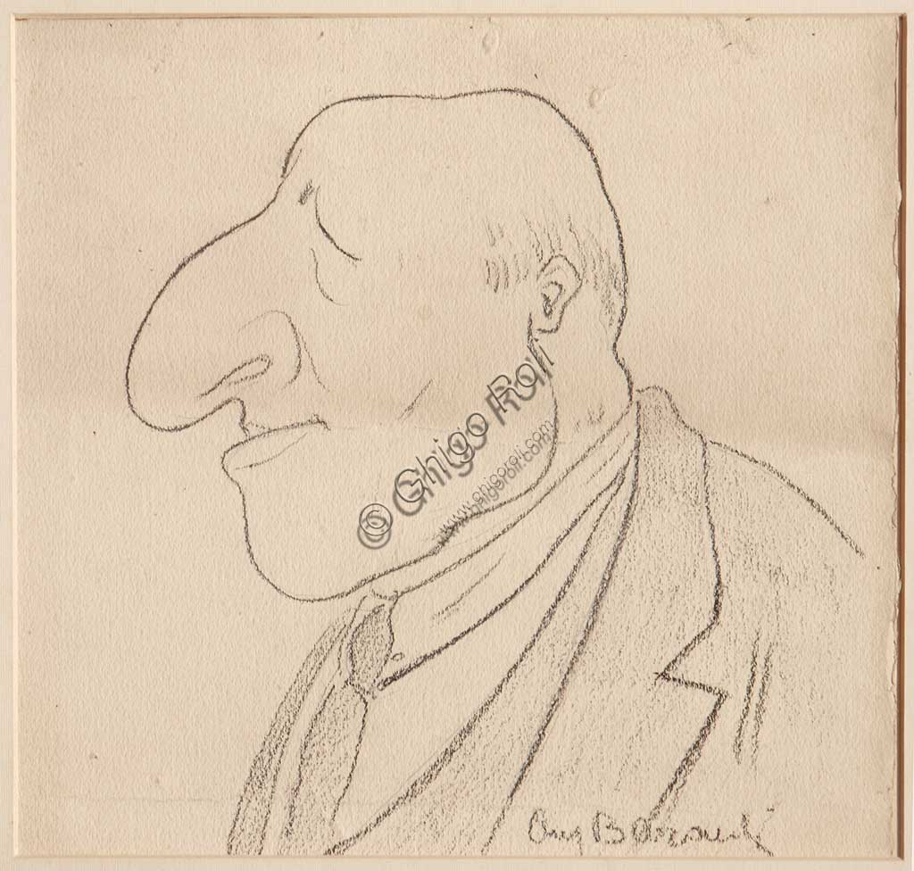 "Assicoop - Unipol Collection: Augusto Baracchi (1878 - 1942), ""Caricature"", black pencil on paper."