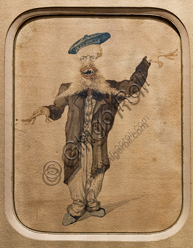 """Angiolo Tricca: """"Caricature of Telemaco Signorini"""", about 1884, watercolour on paper."""