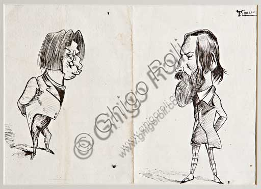 "Assicoop - Unipol Collection: Umberto Tirelli (1871 - 1954) , ""Caricatures"", Indian ink drawing, cm 18 X 25."
