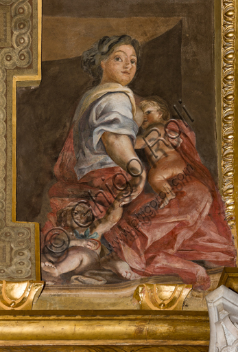 """Genova, Duomo (Cattedrale di S. Lorenzo),  interno, Cappella Senarega o di Nostra Signora del Soccorso (abside meridionale), volta: """"Carità"""", di Giovanni Andrea Carlone (1690 circa)."""