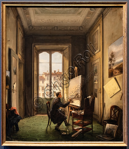 """Carlo Canella: """"Portrait of the painter Giuseppe Canella in his studio in Milan"""", 1837, oil painting."""