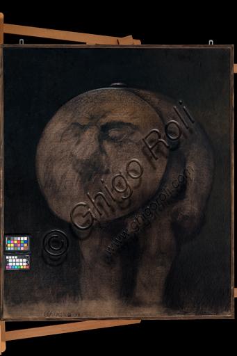 """Carlo Cremaschi: """"Monos"""" ; olio su cartone, cm. 174 × 105."""
