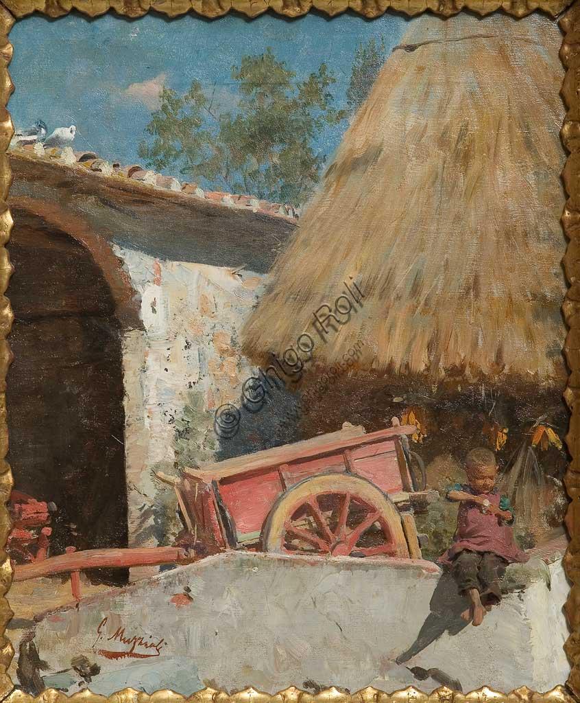 """Collezione Assicoop - Unipol: Giovanni Muzzioli (1854 - 1894), """"Il carretto rosa"""", 1882, olio su tela."""