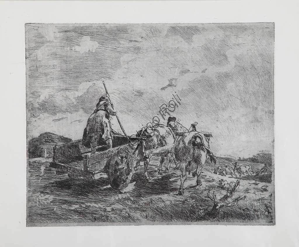 """Collezione Assicoop - Unipol: Giuseppe Graziosi (1879-1942), """"Carro con buoi"""", acquaforte e acquatinta su carta, lastra."""