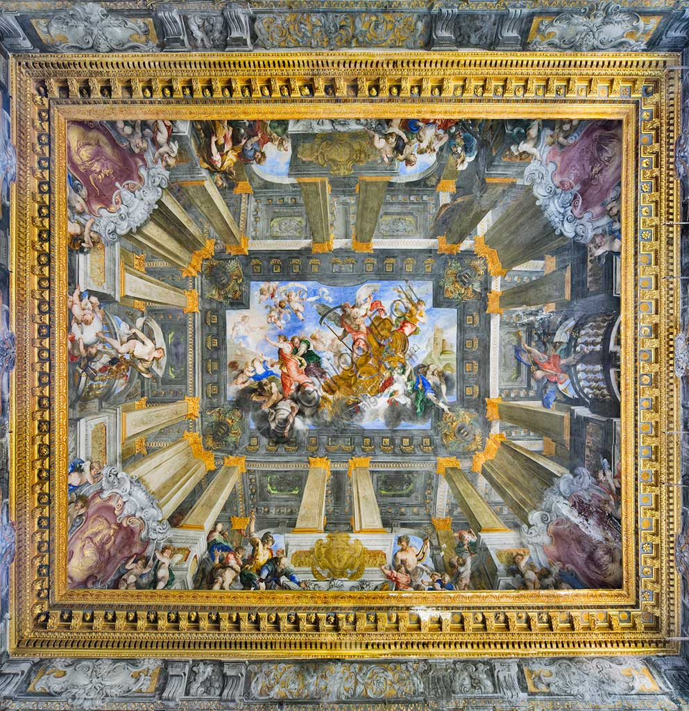 "Genoa, Palazzo Balbi Senarega, the Hall on the second floor: the vault painted as a false hall with columns  ""The Chariot of the Time and the four ages of Man"", fresco by Valerio Castello e Andrea Sighizzi, 1657/58.World Heritage UNESCO."