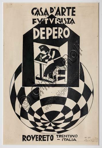 "Rovereto, Casa Depero: sketch for the logo ""Casa d'Arte Futurista Depero"" by Fortunato Depero, 1921 - 1923."