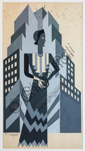 Rovereto, Casa Depero: study for an illustration for Vogue magazine (Model and Skyscraper), by Fortunato Depero, 1929 - 1930.