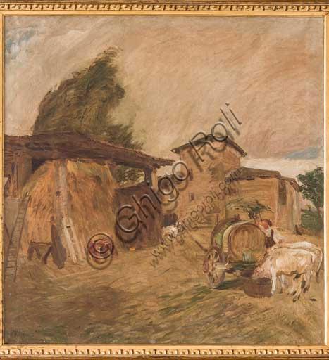 """Collezione Assicoop - Unipol,  inv. n° 489: Giuseppe Graziosi (1879-1942); """"Casa Mombrina a Savignano"""" (1905-10), olio su tela, 99 x 95."""