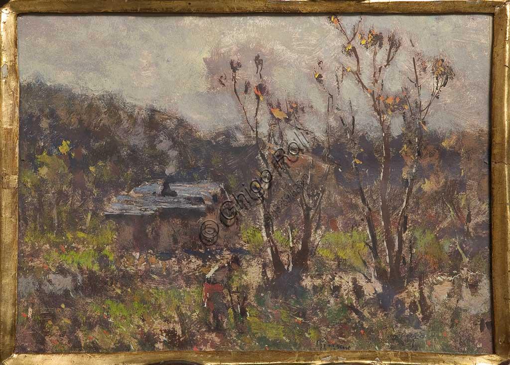 """Collezione Assicoop - Unipol: Lorenzo Gignous (1862 - 1958), """"Cascina"""",  olio e tempera su carta."""