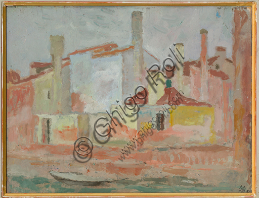 "Mario Vellani Marchi (1895 - 1979): ""Houses in Rio Giudecca""; Oil painting on plywood, cm 23 x 30."