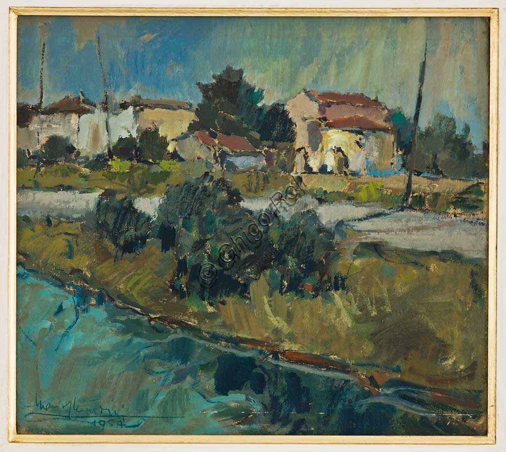 "Assicoop - Unipol Collection: Mario Gherardini (1906-1956); ""Houses on the Canal at Villa Rainusso""; oil on canvas, 40,5 x 45. Recto."