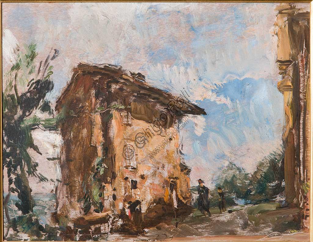 """Collezione Assicoop - Unipol: Giuseppe Graziosi (1879-1942), """"Il Casolare"""". Olio su compensato, cm. 54 x 40."""