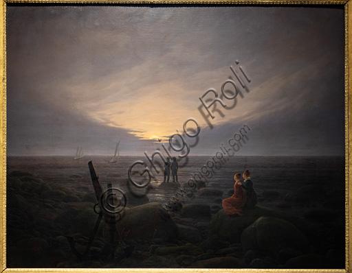 "Caspar David Friedrich, ""Moon rising over the sea"", 18--, oil painting."