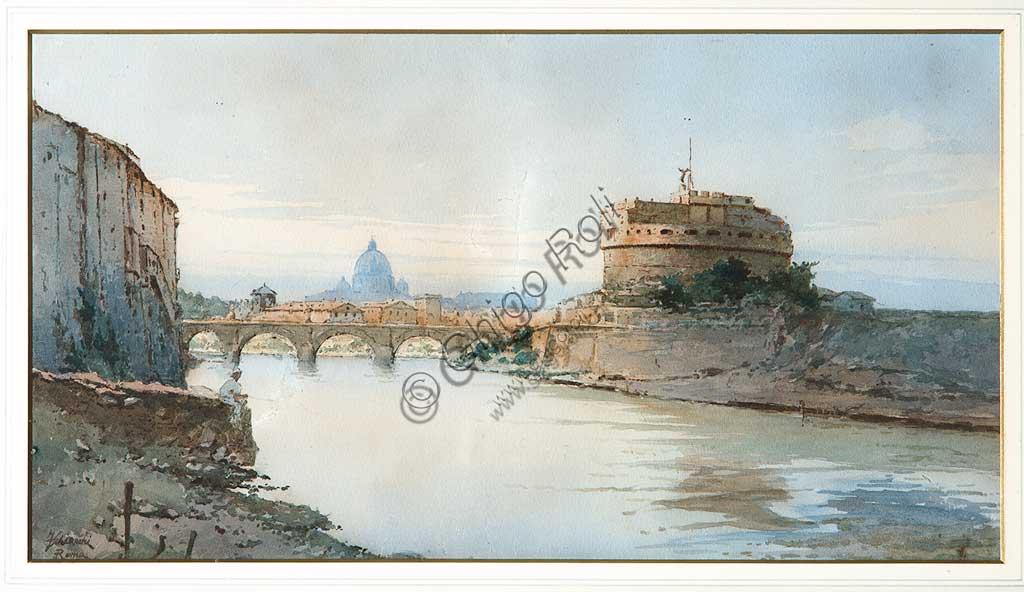 """Assicoop - Unipol Collection: Federico Schianchi (1858-1919), """"Castle S. Angelo"""". Watercolour, cm. 54x37."""
