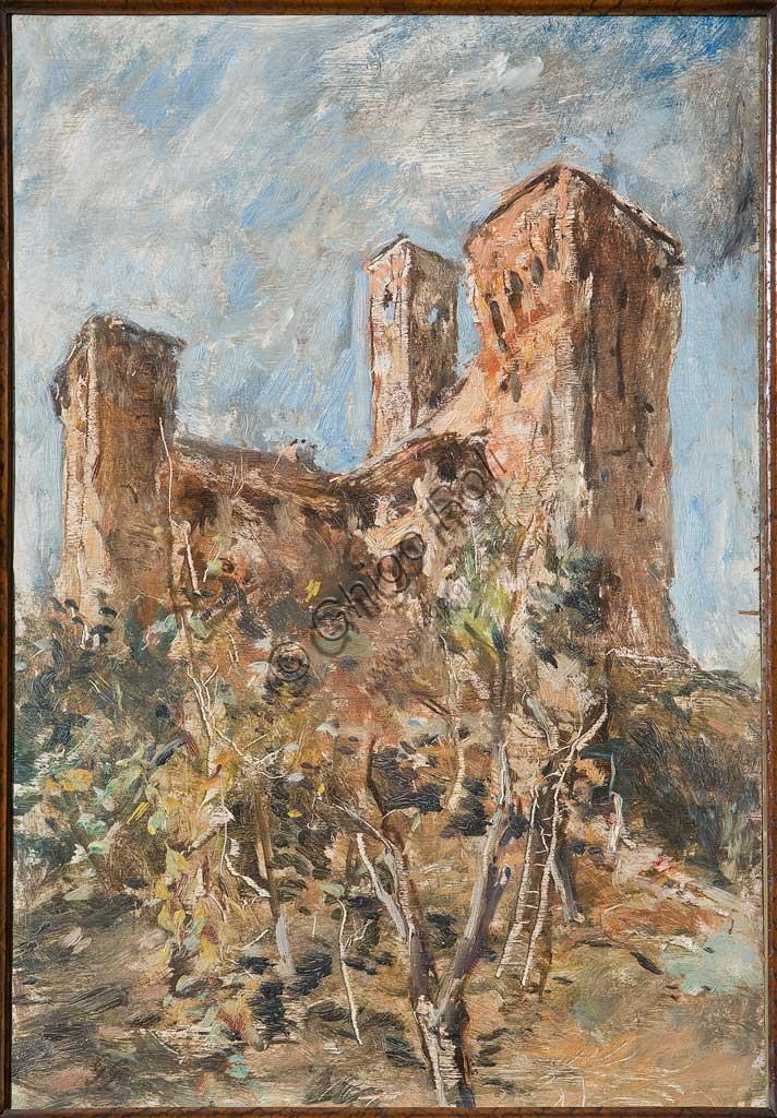 """Collezione Assicoop - Unipol:  Giuseppe Graziosi (1879-1942), """"Castello di Maranello"""". Olio su compensato, cm. 75 x 45."""