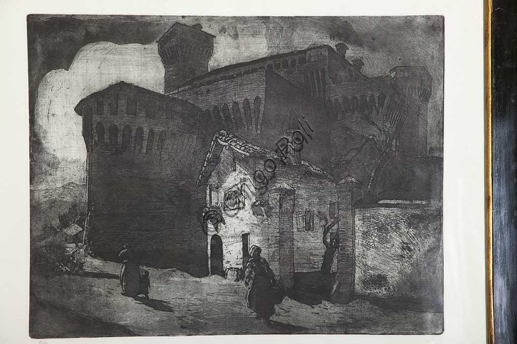"""Collezione Assicoop - Unipol: Giuseppe Graziosi (1879-1942), """"Il Castello di Vignola"""", acquaforte e acquatinta su carta, lastra."""