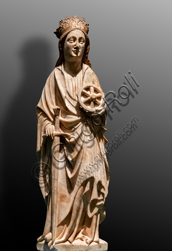 """Perugia, National Gallery of Umbria: """"S. Catherine from Alessandria"""", by a Rhenish sculptor, early 15th century. Carved and painted white marble."""