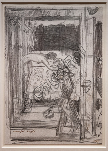 """Composition Study for """"The Merciful Knight"""", (1861) by Edward Coley Burne - Jones  (1833 - 1898); graphite on paper."""