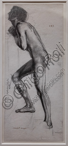 """Study of nude of knight for """"The Merciful Knight"""", (1861) by Edward Coley Burne - Jones  (1833 - 1898); graphite on paper."""