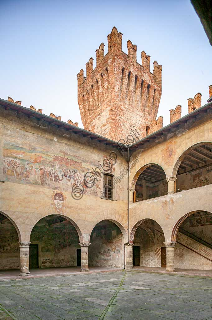 Cavernago, Malpaga Castle or Colleoni Castle: the courtyard and the fresco depicting the Battle of Riccardina, by Romanino.
