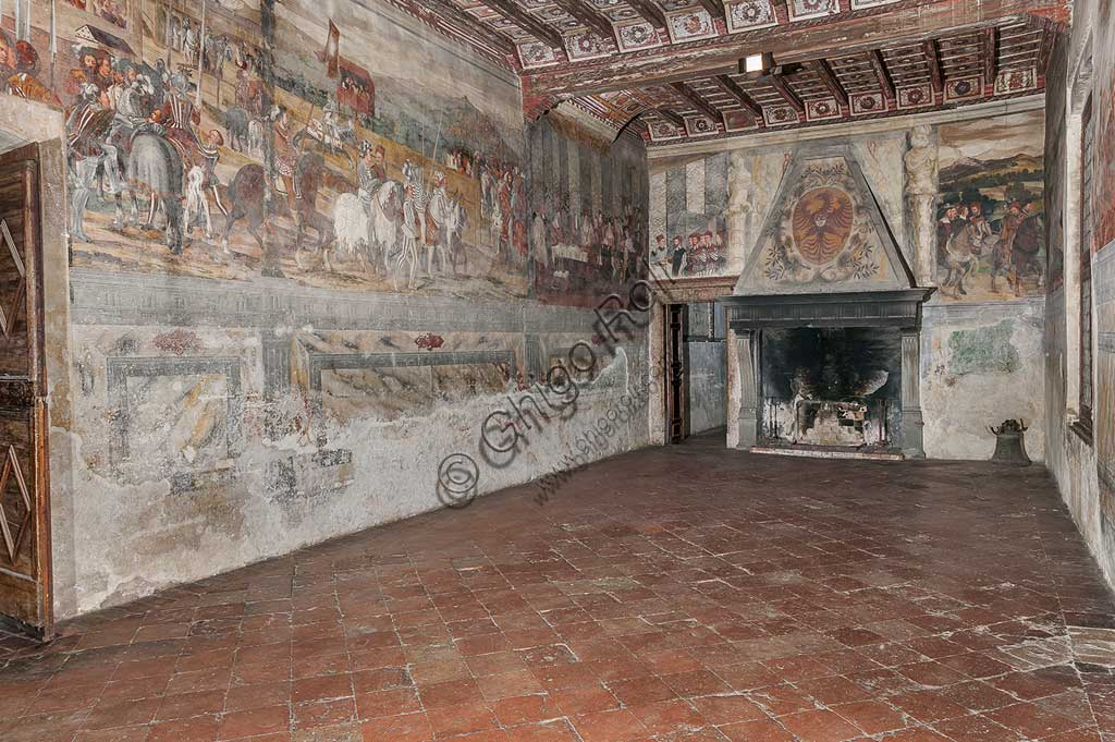 Cavernago, Malpaga Castle or Colleoni Castle, Hall of Honour: cycle of frescoes depicting the visit of Christian I of Denmark to Bartolomeo Colleoni, by Marcello Fogolino, (some historians attribute these frescoes to Romanino), 1474.