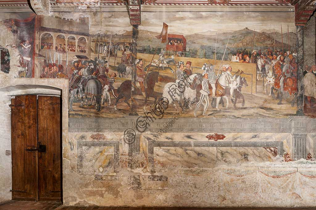 Cavernago, Malpaga Castle or Colleoni Castle, Hall of Honour: cycle of frescoes depicting the visit of Christian I of Denmark to Bartolomeo Colleoni, by Marcello Fogolino, (some historians attribute these frescoes to Romanino), 1474. Detail.
