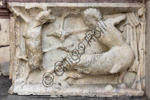 """Genova, Duomo (Cattedrale di S. Lorenzo), lato ovest, la facciata, il portale di sinistra: """"Centauro che trafigge una preda"""", formella figurata della decorazione del basamento."""