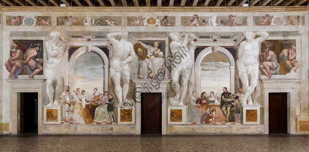 """Caldogno, Villa Caldogno, main hall: on the left, """"The Concert""""; on the right, """"The Banquet"""". Frescoes by Giovanni Antonio Fasolo, about 1570."""
