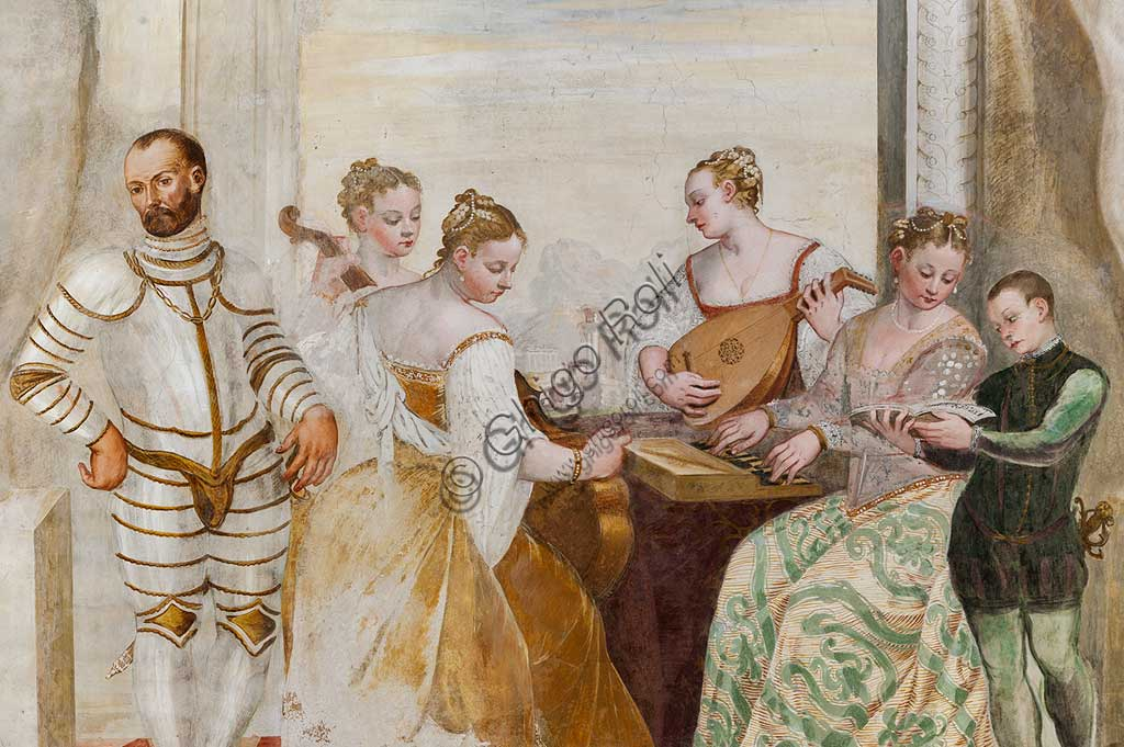 """Caldogno, Villa Caldogno, main hall: """"The Concert"""". Fresco by Giovanni Antonio Fasolo, about 1570. Detail."""