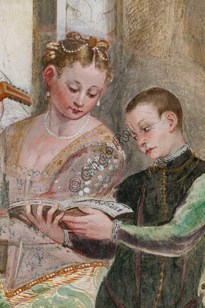 "Caldogno, Villa Caldogno, main hall: ""The Concert"". Detail with a young boy and a court lady. Fresco by Giovanni Antonio Fasolo, about 1570."