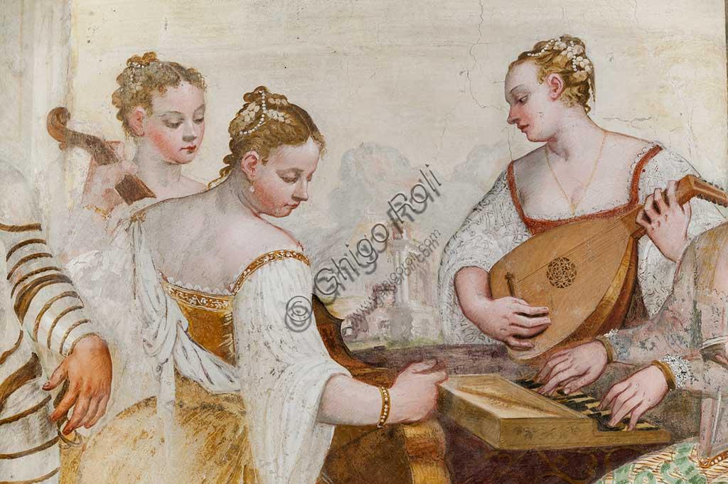 """Caldogno, Villa Caldogno, main hall: """"The Concert"""". Detail with  court ladies. Fresco by Giovanni Antonio Fasolo, about 1570."""