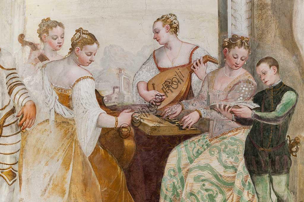 "Caldogno, Villa Caldogno, main hall: ""The Concert"". Detail with young boy and court ladies. Fresco by Giovanni Antonio Fasolo, about 1570."