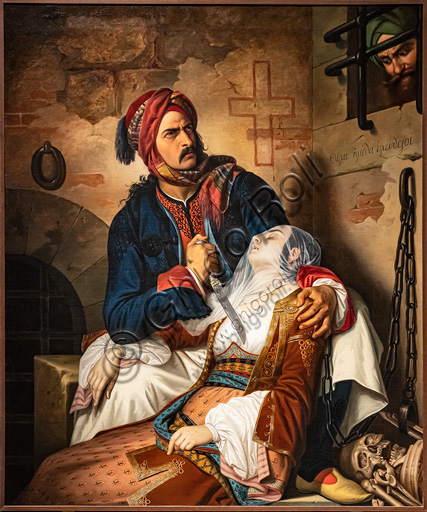 "Cesare Mussini: ""Giorgio Rhodios killing his wife and then himself to escape the cruelty of Muslims (we shall be free!)""; oil painting, 1841-51."