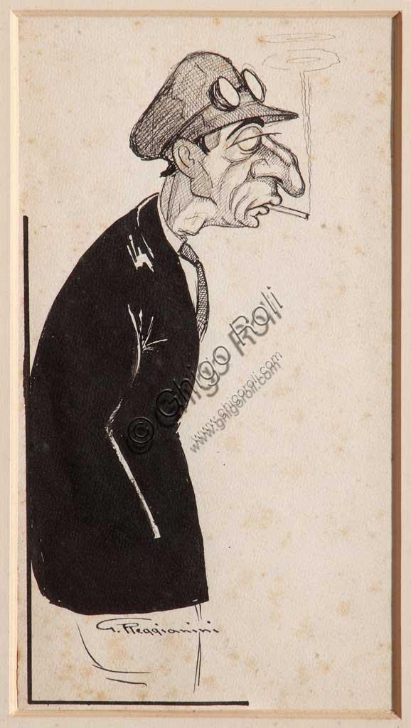 """Assicoop - Unipol Collection: Giovanni Reggianini (1882 - 1942), """" """"Chiergato, pilot of the Isotta Fraschini"""""""". Black pencil on paper."""