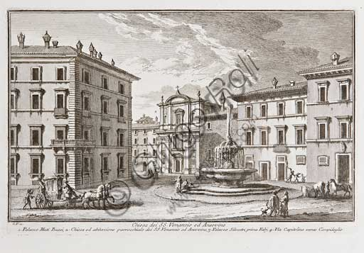 "Assicoop - Unipol Collection: Giuseppe Vasi (1710 - 1782), ""Church of SS. Venanzio and Ansovino in Rome"". Engraving, cm 24 x 34."