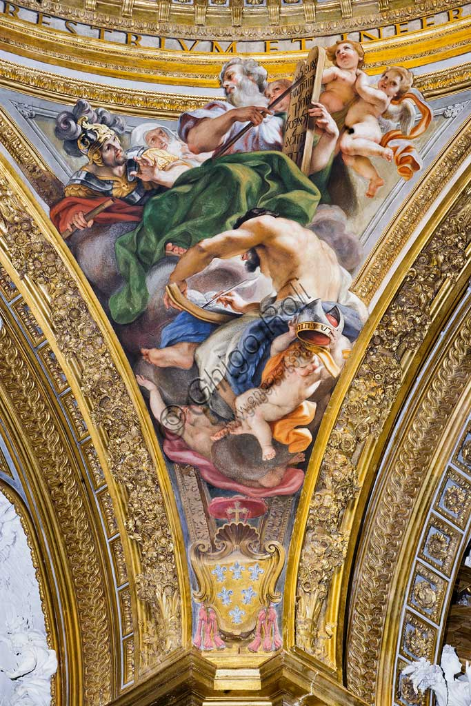 Church of Jesus, the interior, the dome of the transpet: the pendentive with St. Matthew, fresco by Baciccia (Giovan Battista Gaulli), 1679.