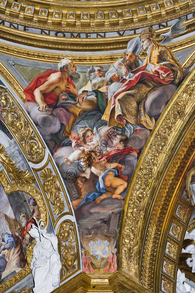 Church of Jesus, the interior, the dome of the transpet: the pendentive with St. John, fresco by Baciccia (Giovan Battista Gaulli), 1679.
