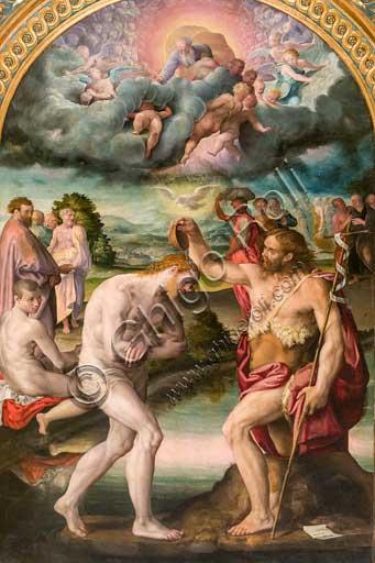 Chiesa di San Giacomo, cappella Poggi:  Battesimo di Gesù; dipinto a olio di Prospero Fontana (1561), su bozza di Pellegrino Tibaldi.