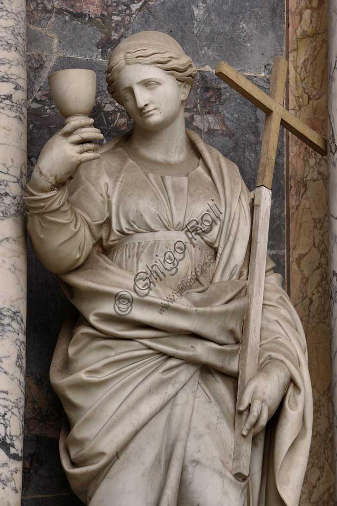 Church of Santa Croce, Mausoleum of St. Pius V: statue representing the Charity. Based on a design by Giovanni Antonio Buzzi (1568-1571).