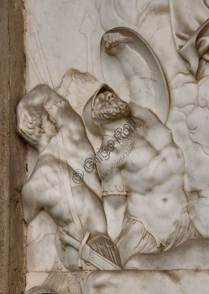 Church of Santa Croce, Mausoleum of St. Pius V: a high-relief in white marble representing  the Resurrection and Pius V in prayer. Based on a design by Giovanni Antonio Buzzi (1568-1571). Detail.