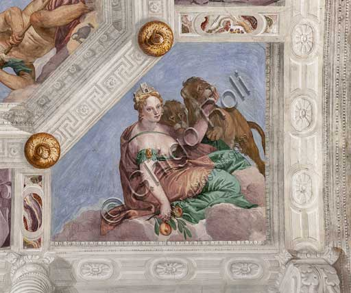 "Maser, Villa Barbaro, the Hall of Olympus, the vault, detail: ""Cybele, or the Earth"". Fresco by Paolo Caliari, known as il Veronese, 1560 - 1561."